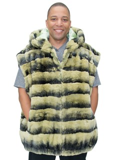 NEW Man's Light Green Rex Rabbit Vest with Hood