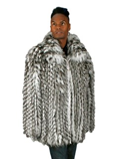 NEW Grey and White Fox Feathered Zip Jacket