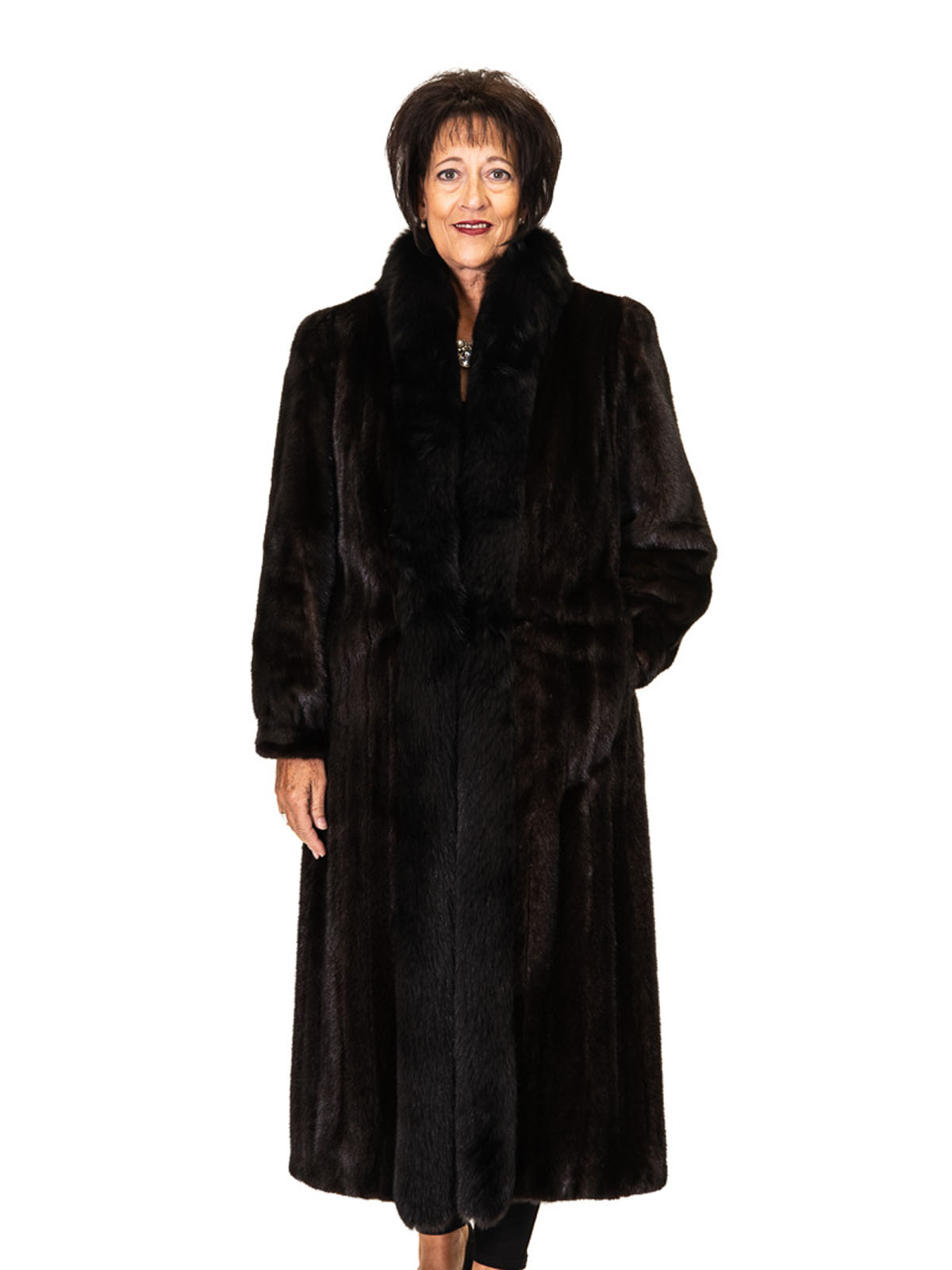 Ranch Mink Coat with Fox Tuxedo Trim