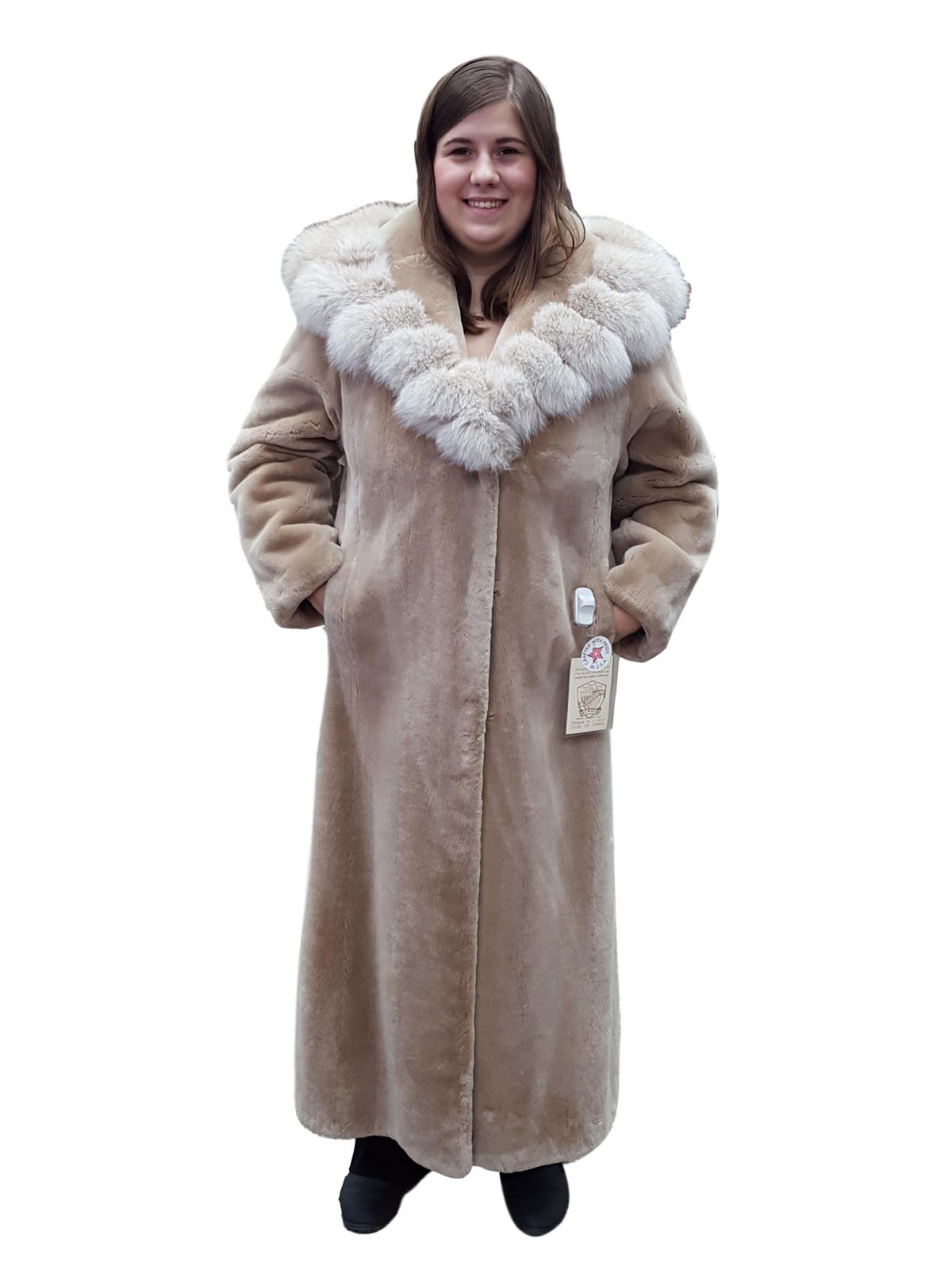 NEW Sheared Beaver Coat with Fox Collar