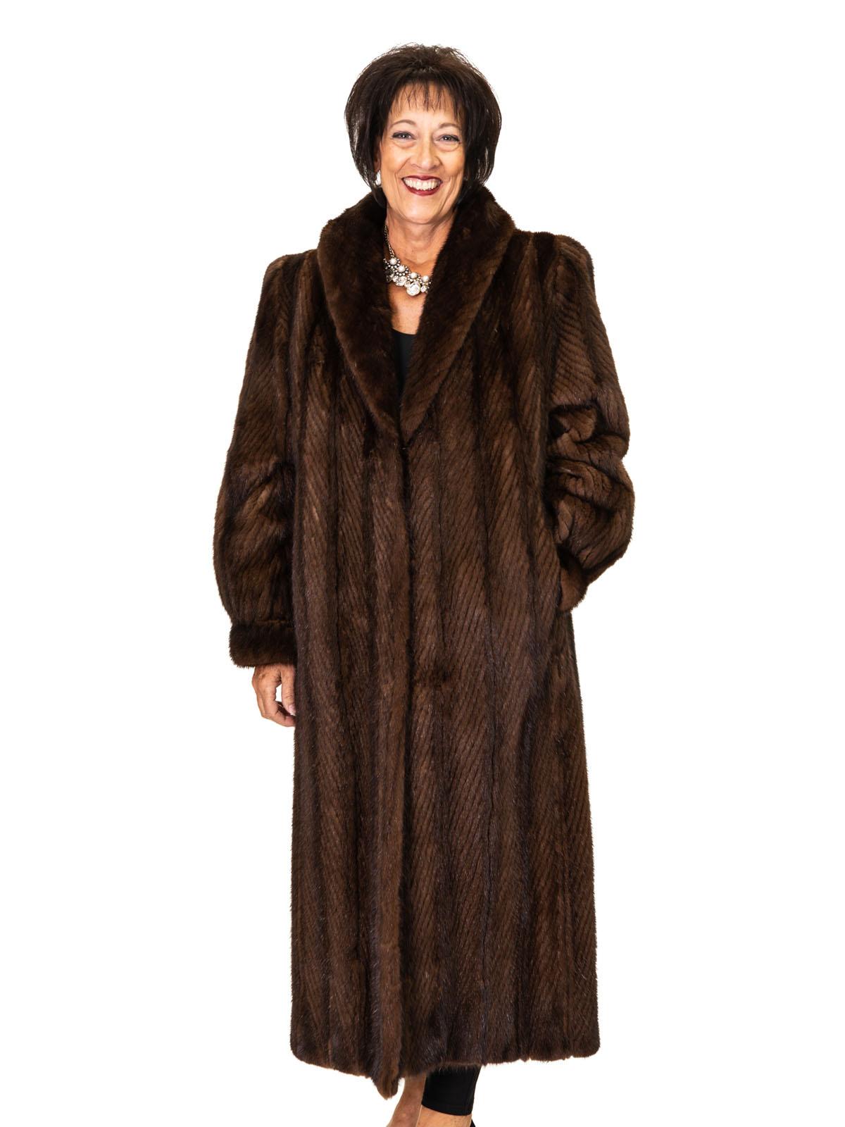 Mahogany Chevron Mink Coat