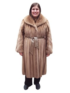Autumn Haze Mink Coat with Leather Belt