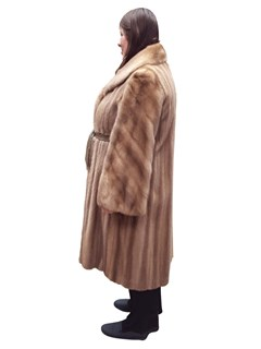 NEW Authentic Vintage Autumn Haze Mink Coat with Leather Belt
