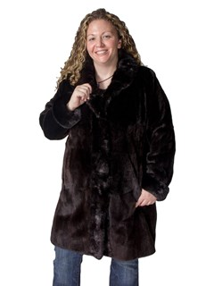 NEW Dark Brown Plucked Mink Coat with Cross Cut Collar