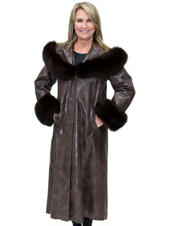 NEW Full Length Embossed Cabretta Lamb Leather Coat with Fox Trim