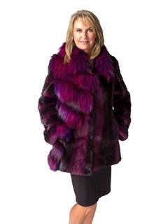 NEW Purple Chevron Mink Coat with Fox Trim