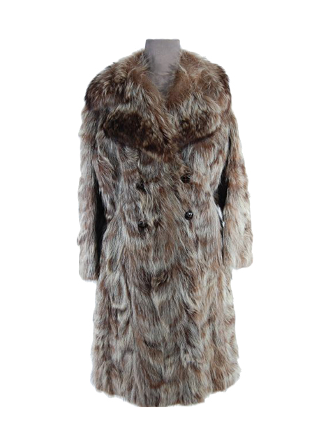 Double Breasted Natural Raccoon Fur Coat