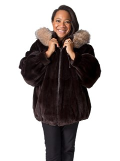 NEW Plucked Mink Zip Jacket with Fox