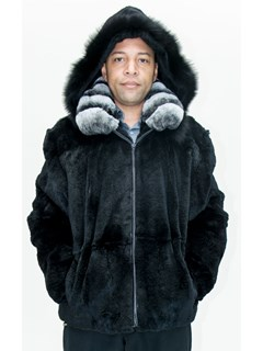 NEW Man's Black Rabbit Hooded Zip Jacket with Fox
