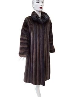 Natural Brown Long Hair Beaver Coat with Horizontal Sleeve Design