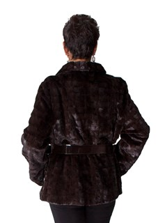 NEW Sheared Mink Cubed Sections Jacket with Leather Belt