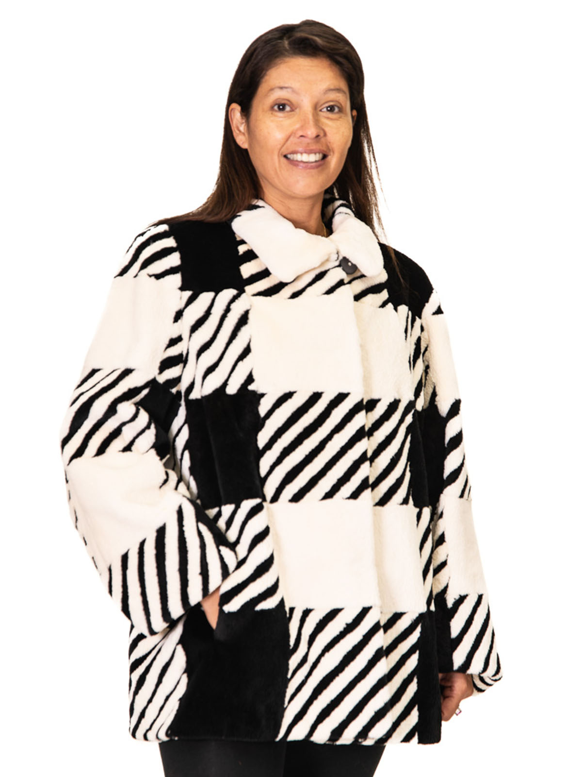 NEW Black and White Sheared Beaver Jacket
