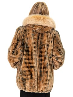 NEW Sheared Beaver Parka with Carving Design and Fox Trim