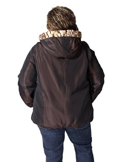 NEW Reversible Mosaic Sheared Mink Sections Hooded Parka
