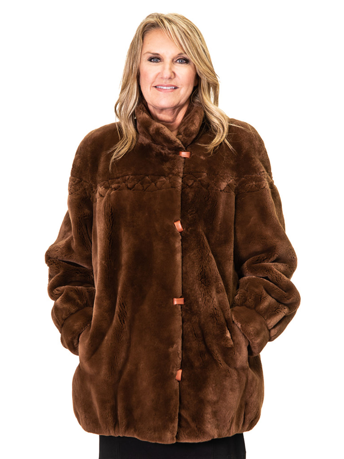 NEW Spice Brown Sheared Beaver Jacket