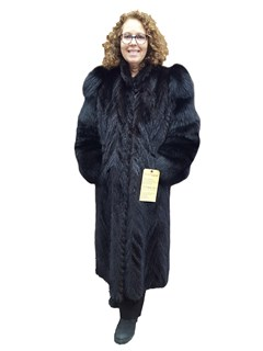 Chevron Mink Tails Coat with Fox Sleeves