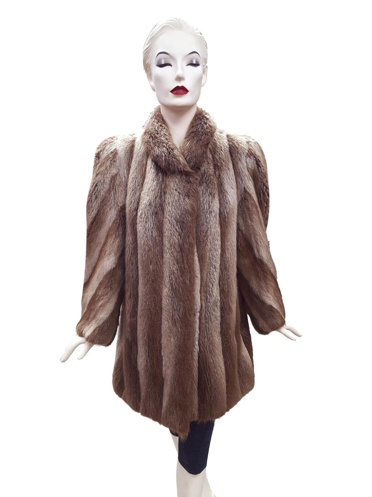 Blonde Long Hair Beaver 3/4 Coat with Diagonal Sleeve Design