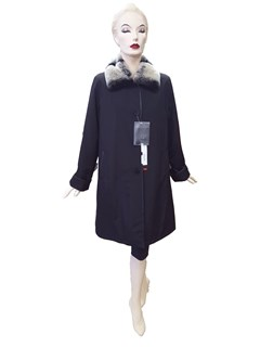 NEW Black Poplin Coat with Rabbit Liner and Chinchilla Rex Collar