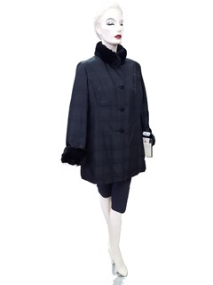 NEW Black Plaid Taffeta Silk Jacket with Rex Rabbit Collar and Cuffs and Sheared Rabbit Liner