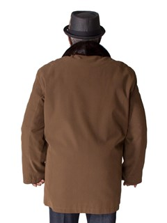 NEW Man's Bronze Gabardine Zip Jacket with Rabbit Liner and Mink Collar
