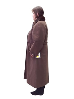 NEW Brown Microfiber Trench Coat with Mink Collar and Rabbit Liner