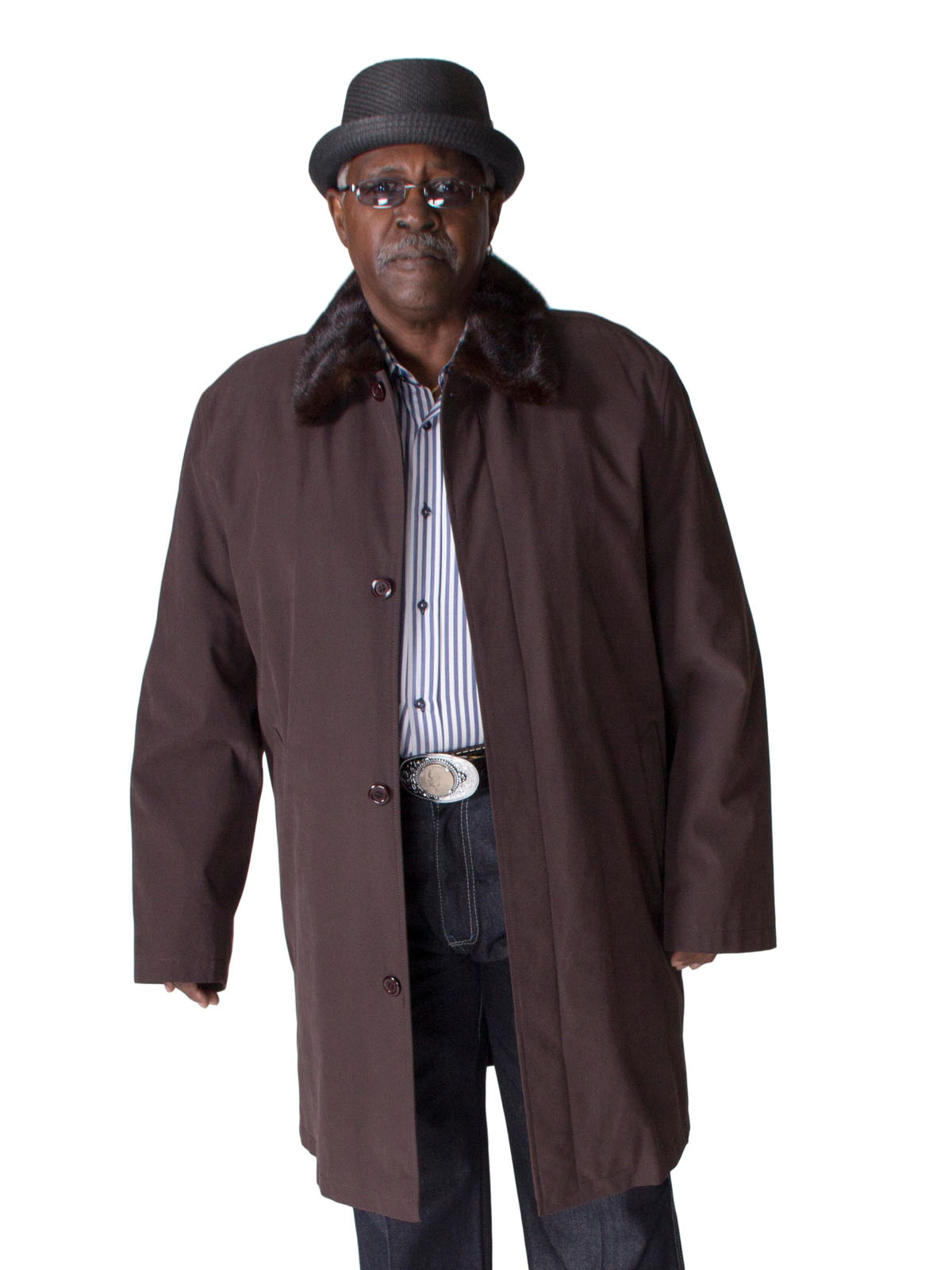 NEW Man's Brown Gabardine Trench Coat with Mink Collar and Liner