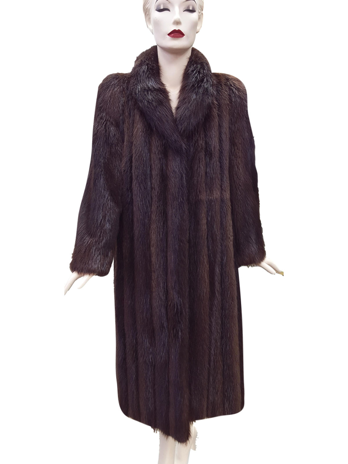 Dark Brown Letout Long Hair Beaver Coat