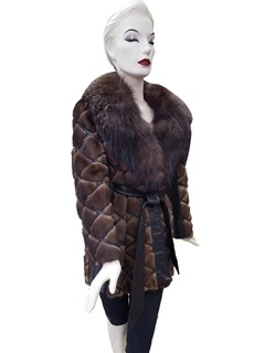 Mink Diamond Cut Jacket with Leather Inserts and Fox Collar