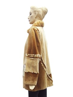 NEW Sheared Beaver Coat with Knitted Collar and Multicolor Design