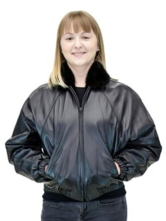 NEW Reversible Ranch Mink Zip Jacket; Reverses to Cabretta Lamb Leather
