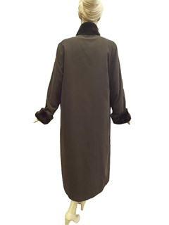 NEW Brown Microfiber Coat with Sheared Nutria Collar and Cuffs and Rabbit Liner