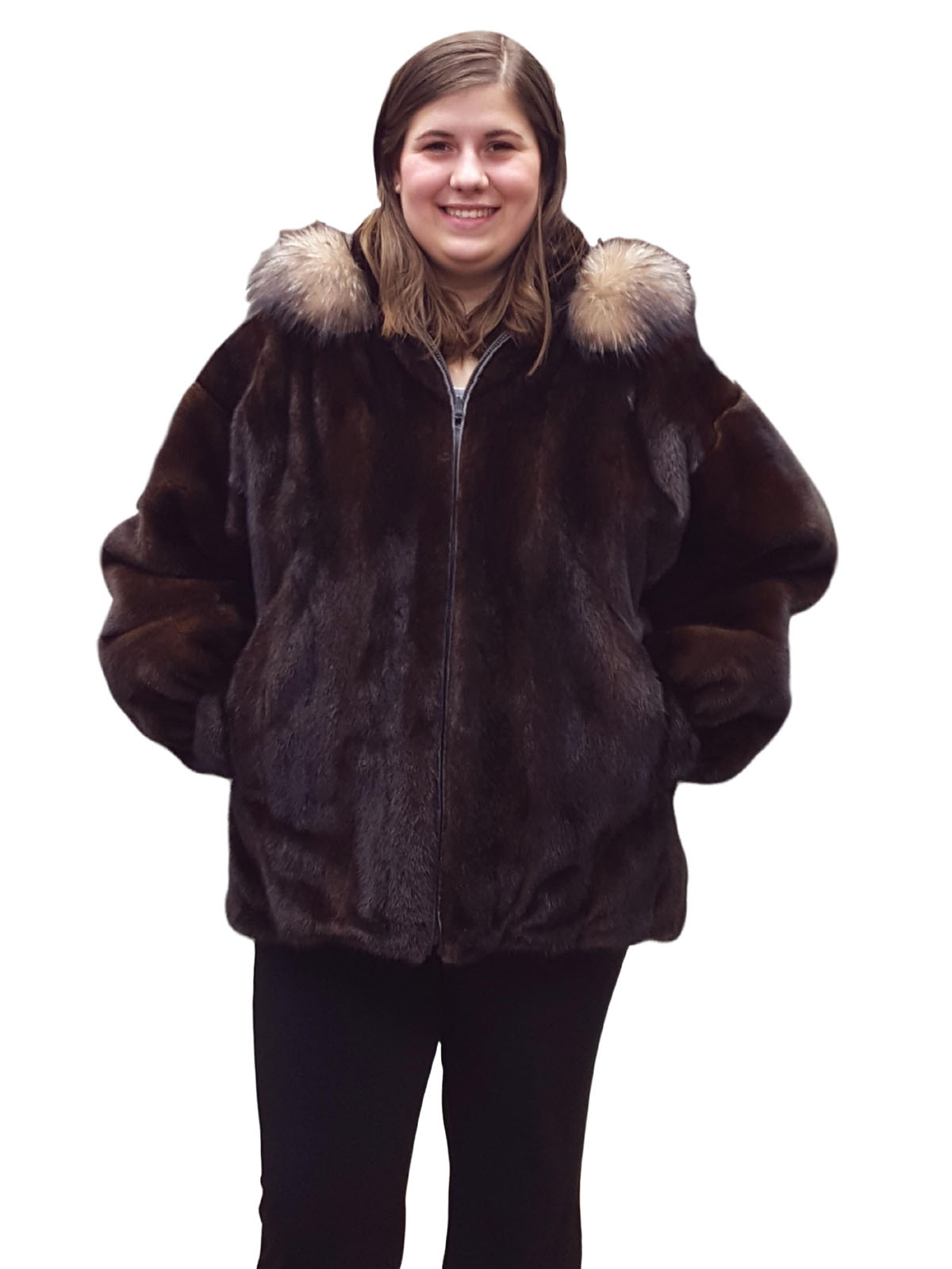 Reversible Mahogany Mink to Cabretta Lamb Leather Zip Jacket with Crystal Fox Trimmed Collar