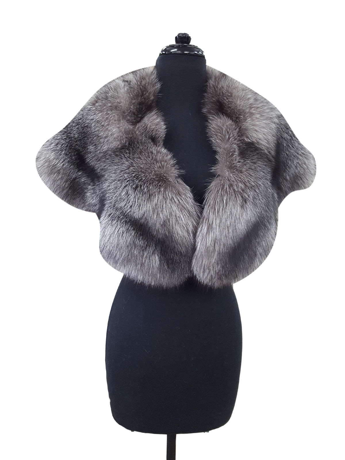 Indigo Silver Fox Large Cape Collar
