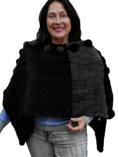 NEW Black and Gray Degrade Knitted Mink Poncho
