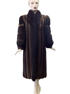 Brown Long Hair Beaver Coat with Brown Fox Trim
