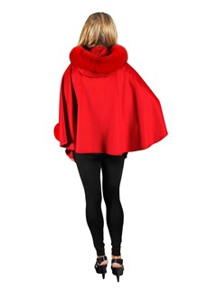 NEW Red Cashmere Hooded Cape with Fox Trim