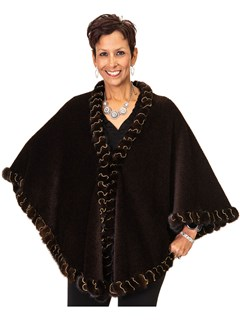 NEW Alpaca Wool Cape with Mink Trim