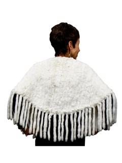 NEW White Rex Rabbit Cape with Fringe