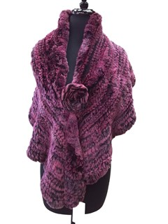NEW Purple Rex Rabbit Knitted Shawl