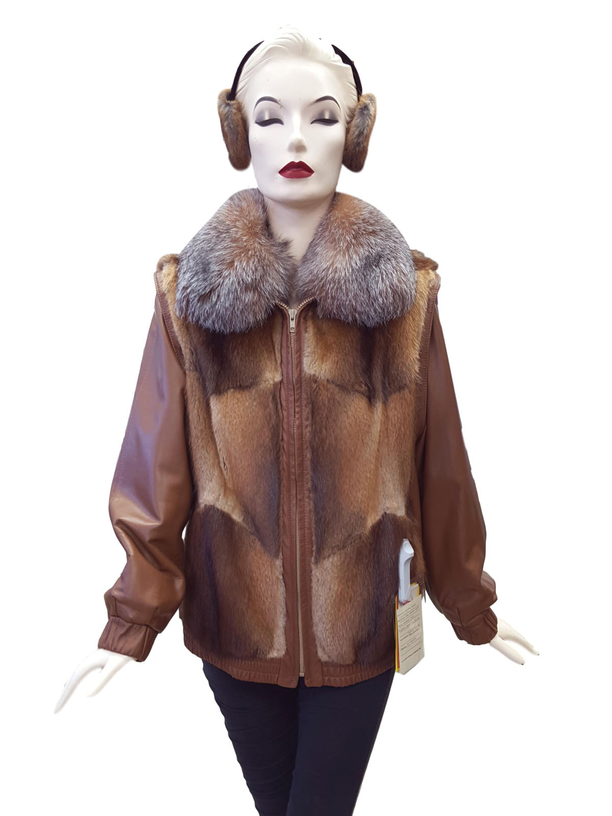 NEW Muskrat and Leather Zip Jacket with Fox Collar and Earmuffs