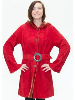 NEW Christia of Italy Red Merino Suede Lamb Shearling Parka