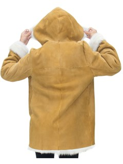 NEW Gold Suede Lamb Shearling Hooded Parka