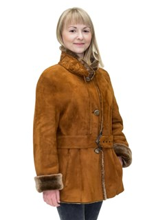 NEW Christia of Italy Tobacco Merino Lamb Shearling