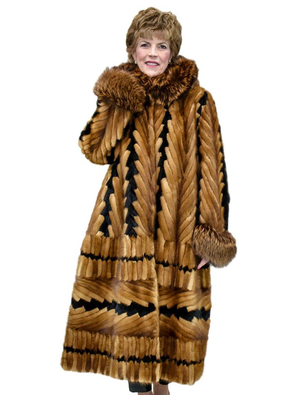 NEW Mink Tails Coat with Fox Trim