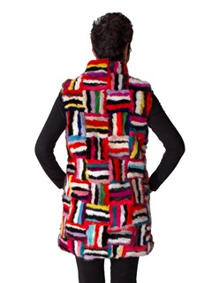 NEW Diana Rosh Multicolor Mink Sections Vest