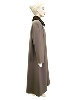 NEW Khaki Poplin Gabardine Coat with Mink Collar and Rabbit Liner