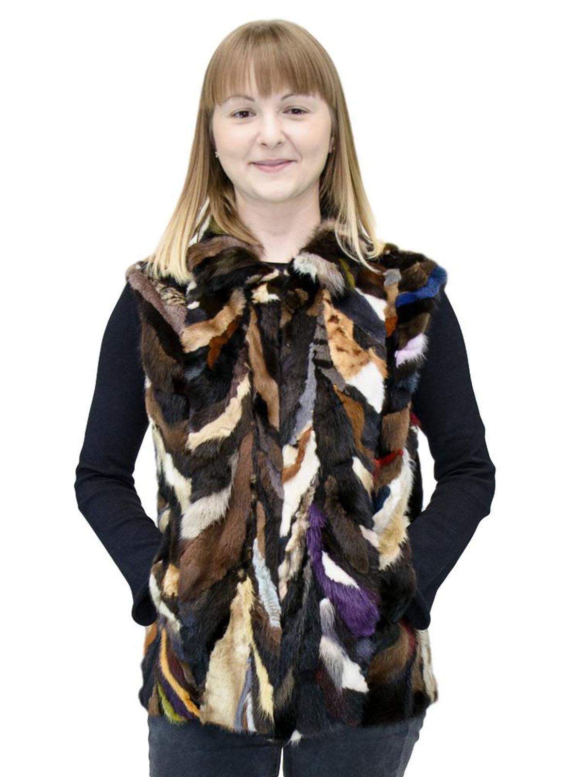 NEW Adrienne Landau Multicolor Mink Sections Vest