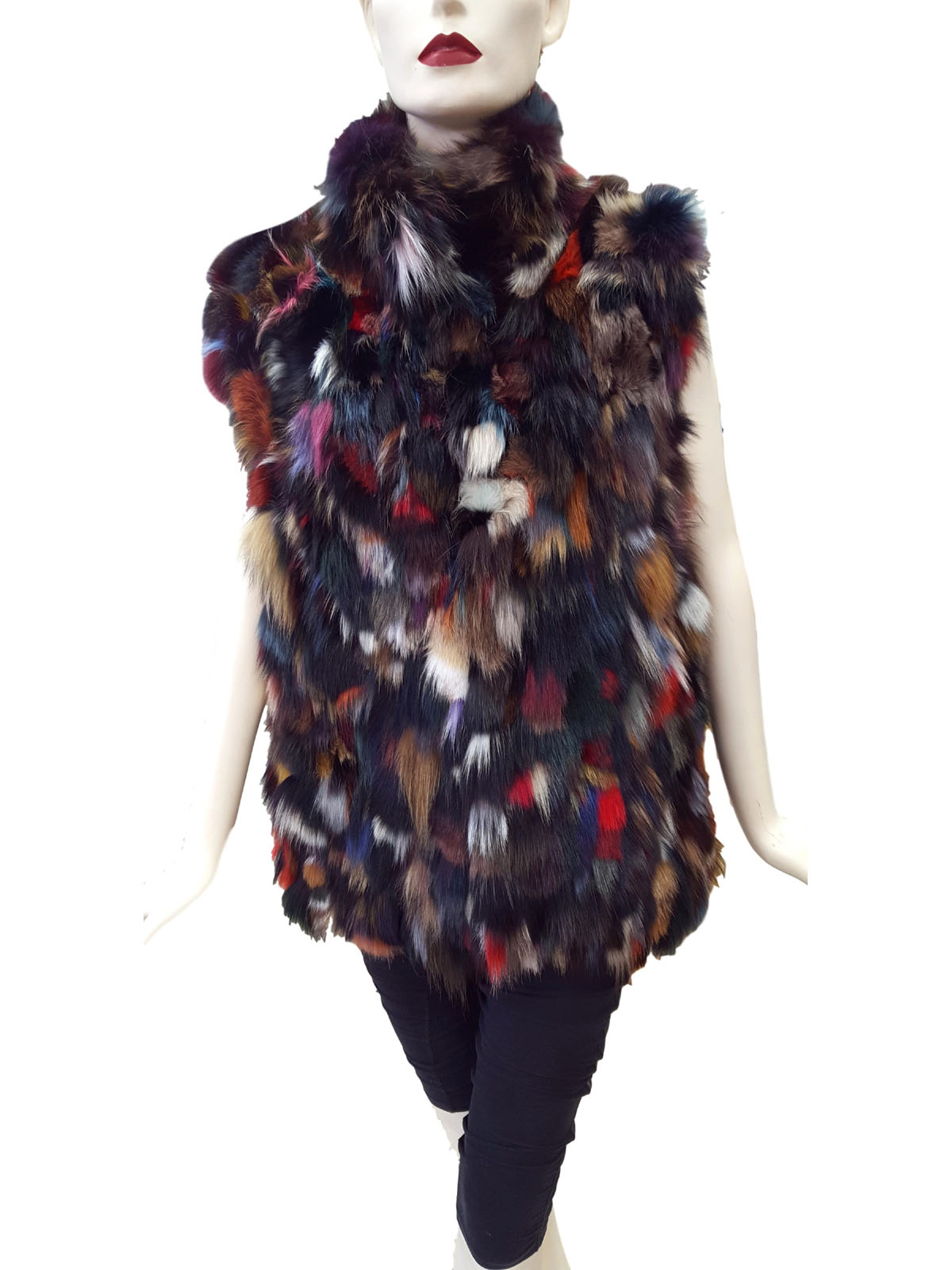 Multicolor Fox Sections Vest