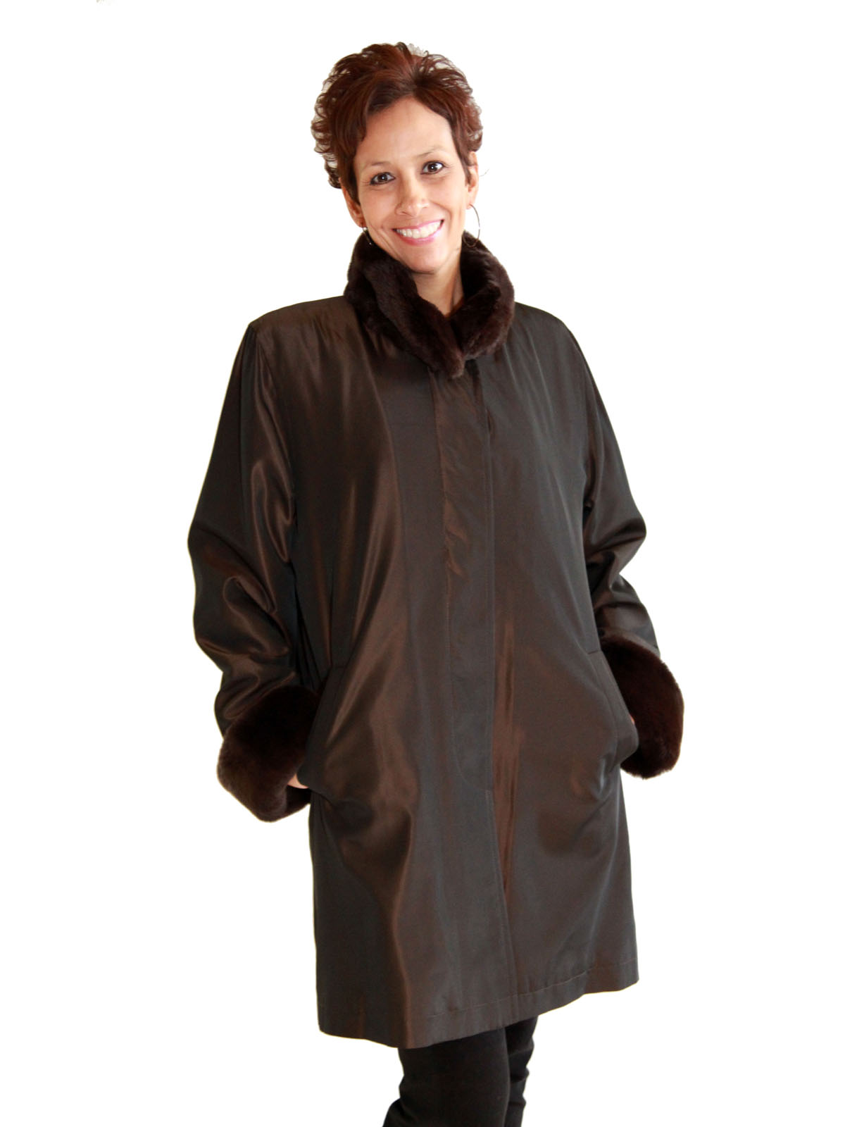 NEW Brown Taffeta Rain Silk Jacket with Rex Rabbit Collar, Cuffs, and Liner