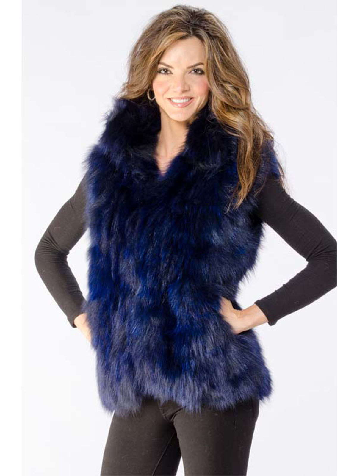 NEW Adrienne Landau Blue Fox Vest